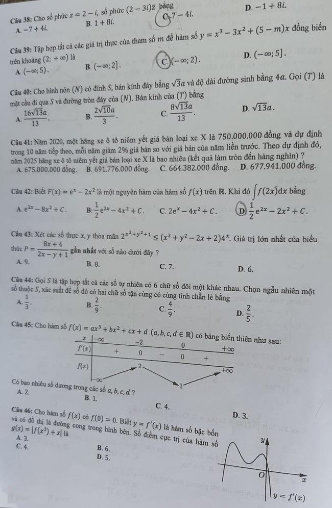 Đề thi tốt nghiệp THPT môn Toán đợt 2 mã đề 124 trang 4