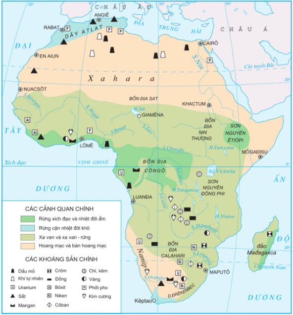 Hình 5.1 Các cảnh quan và khoáng sản chính ở châu Phi