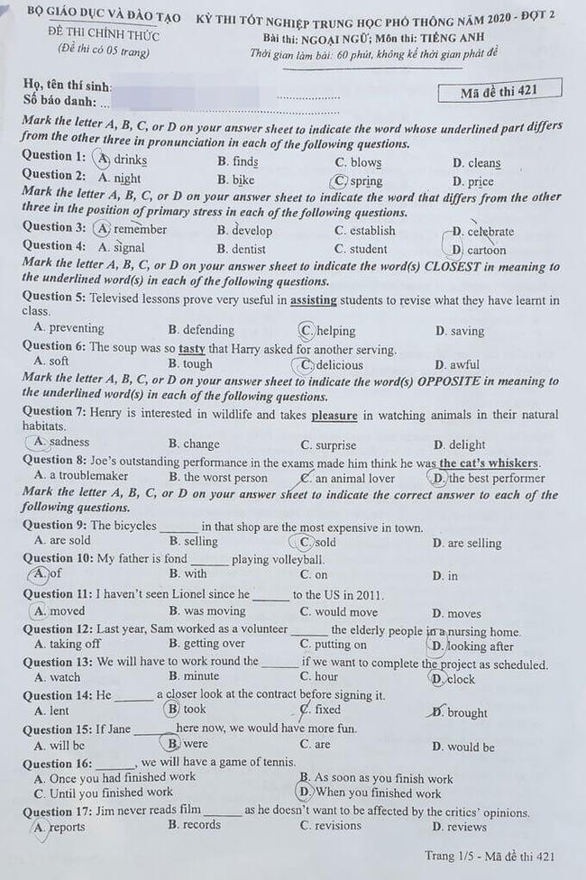 Đề thi tốt nghiệp THPT môn Anh đợt 2 mã đề 421 trang 1
