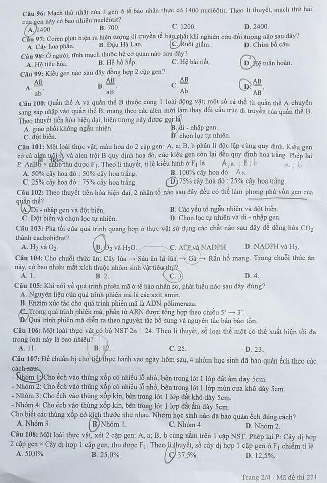 Đề thi tốt nghiệp THPT môn Sinh đợt 2 mã đề 221 trang 2