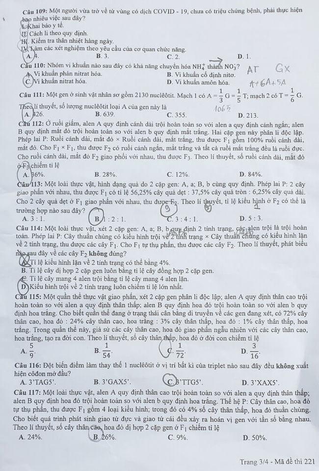 Đề thi tốt nghiệp THPT môn Sinh đợt 2 mã đề 221 trang 3
