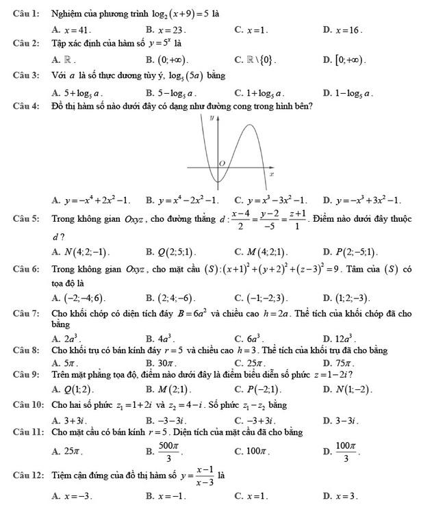 đề thi tốt nghiệp THPT môn Toán đợt 2 mã đề 102 trang 1