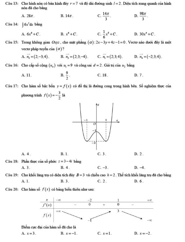 đề thi tốt nghiệp THPT môn Toán đợt 2 mã đề 102 trang 2