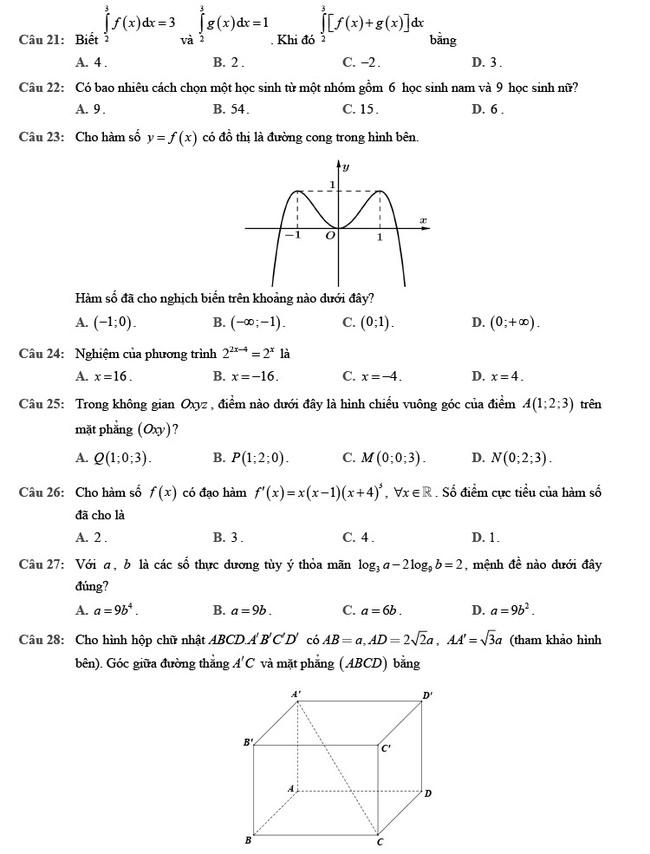 đề thi tốt nghiệp THPT môn Toán đợt 2 mã đề 102 trang 3