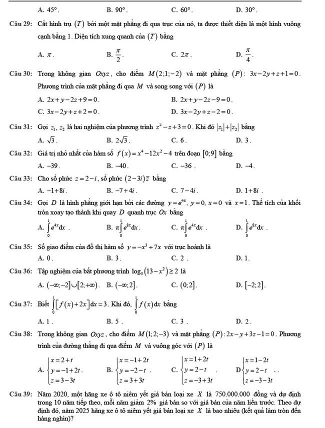 đề thi tốt nghiệp THPT môn Toán đợt 2 mã đề 102 trang 4
