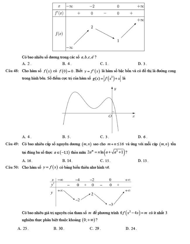 đề thi tốt nghiệp THPT môn Toán đợt 2 mã đề 102 trang 6
