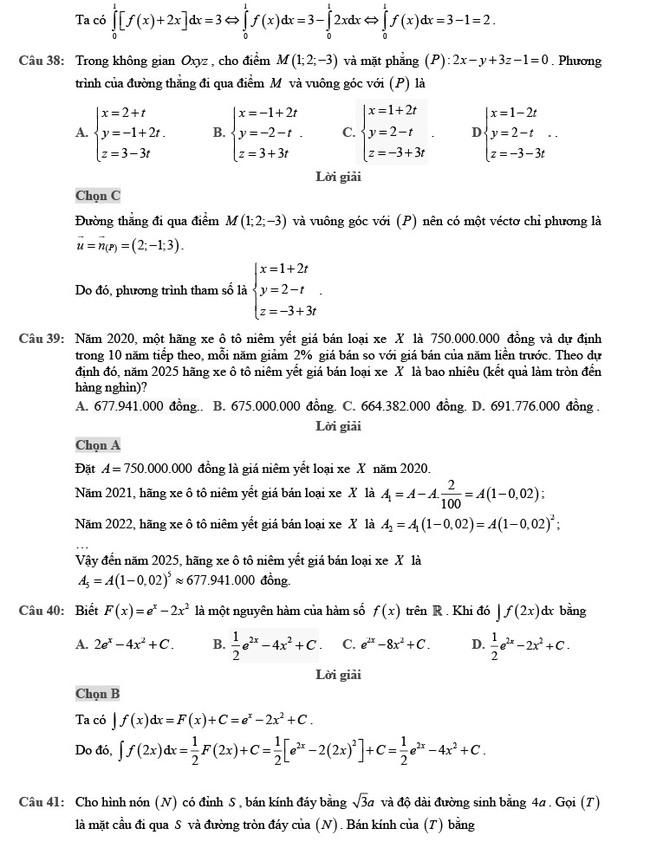 Giải chi tiết đề thi tốt nghiệp THPT môn Toán đợt 2 mã đề 102 ảnh 10