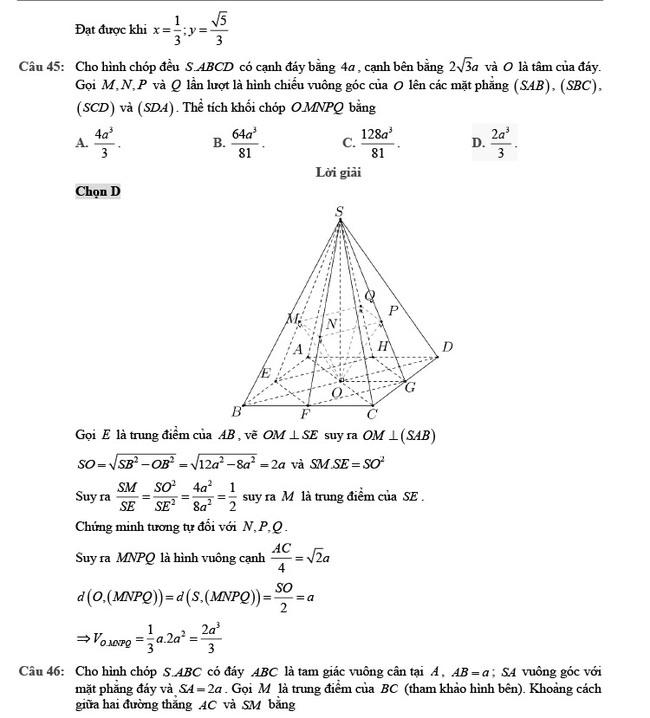 Giải chi tiết đề thi tốt nghiệp THPT môn Toán đợt 2 mã đề 102 ảnh 13