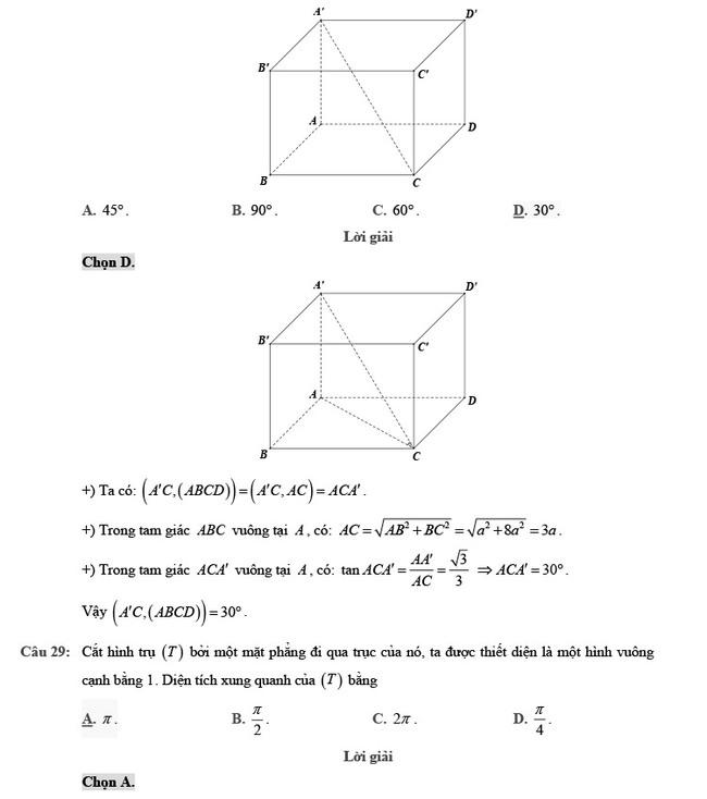 Giải chi tiết đề thi tốt nghiệp THPT môn Toán đợt 2 mã đề 102 ảnh 7