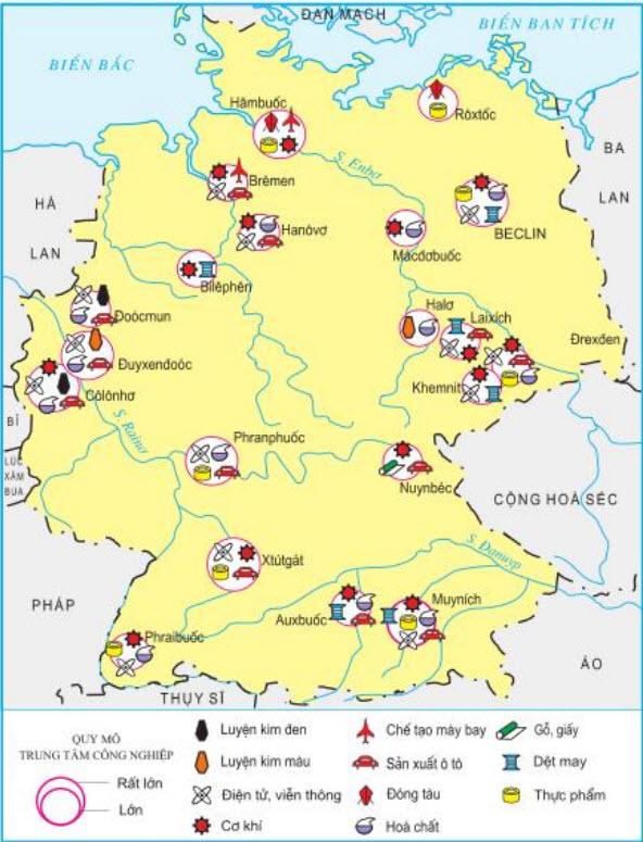 Hình 7.12. Các trung tâm công nghiệp chính củaCHLB Đức