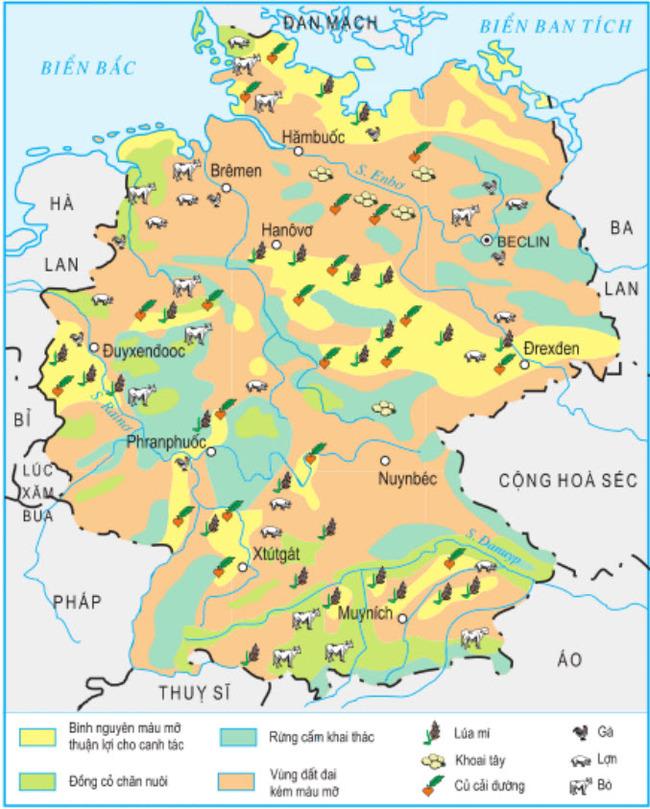Hình 7.14. Phân bố sản xuất nông nghiệpcủa CHLB Đức