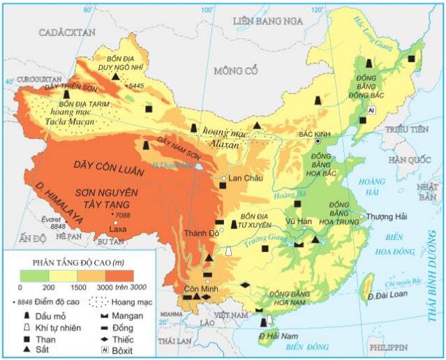 Hình 10.1. Địa hình và khoáng sản Trung Quốc