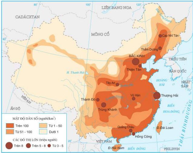 Hình 10.4. Phân bố dân cư Trung Quốc