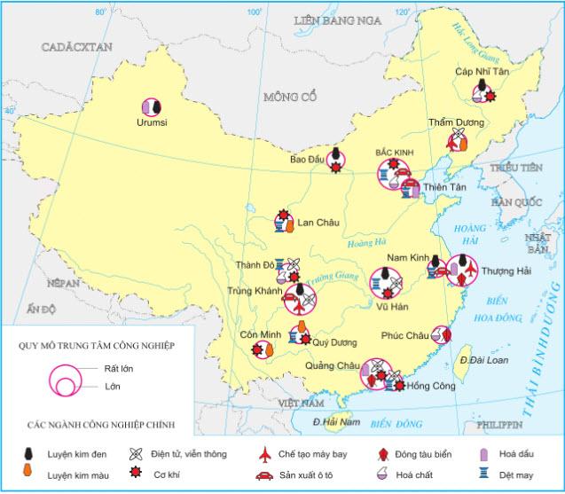 hình 10.8, nhận xét sự phân bố một số ngành công nghiệp của Trung Quốc