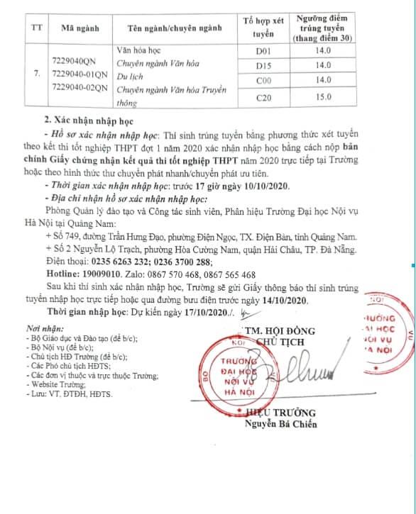 Điểm chuẩn trường Đại học Nội Vụ năm 2020 Quảng Nam 2