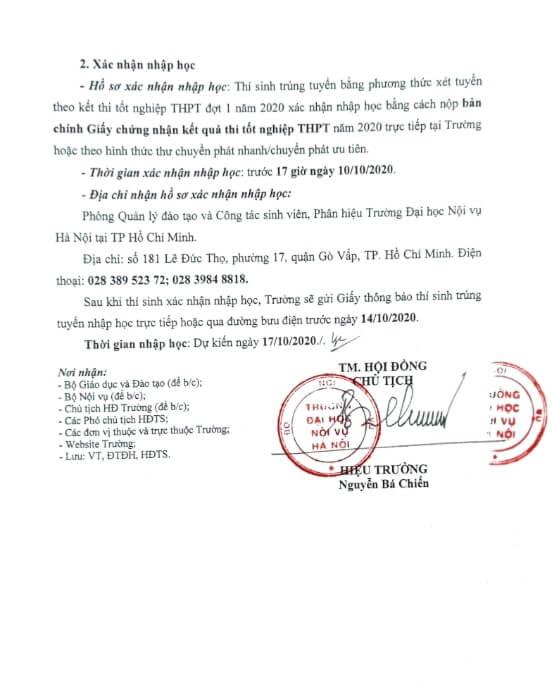 Điểm chuẩn trường Đại học Nội Vụ năm 2020 TP HCM 2