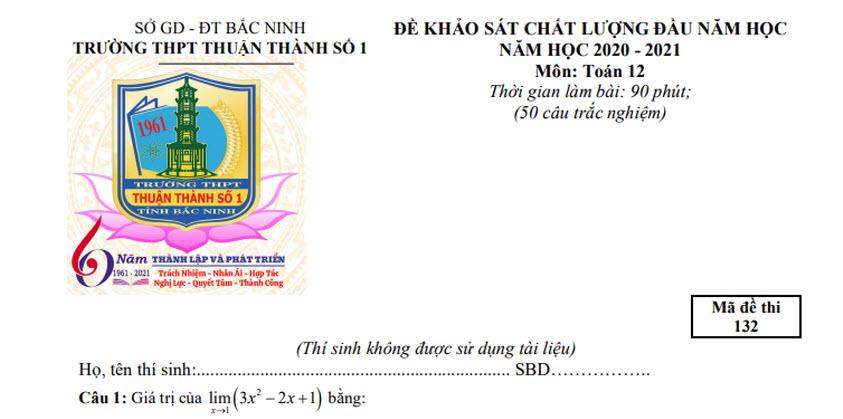 Đề thi thử THPT Quốc gia 2020 môn Toán trường Thuận Thành 1