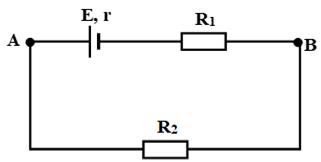 Cho mạch điện như hình vẽ. Công thức nào sau đây là sai ? C. I = dfracUAB-ER1+r hình ảnh