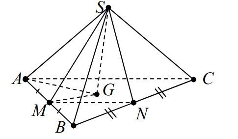 Cho hình chóp S.ABC có M, N lần lượt là trung điểm AB, BC và G là trọng tâm △ABC hình ảnh