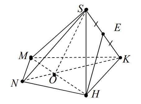 Cho hình chóp S.MNHK có O là giao điểm hai đường chéo MH, NK và E là trung điểm hình ảnh