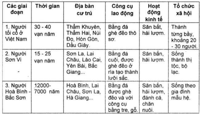 ã hội nguyên thủy Việt Nam trải qua những giai đoạn