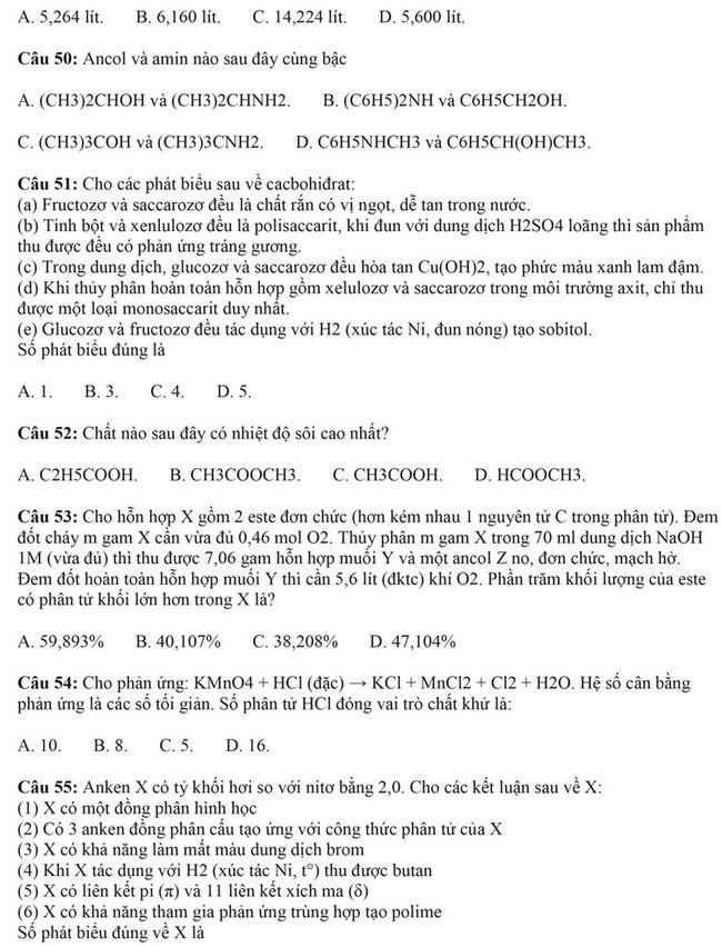 Đề thi thử tốt nghiệp THPT môn Hóa Quế Võ lần 1 trang 2