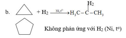Phương trình hóa học khi dẫn hỗn hợp xiclopropan, xiclopentan và hiđro đi vào trong ống có bột niken, nung nóng