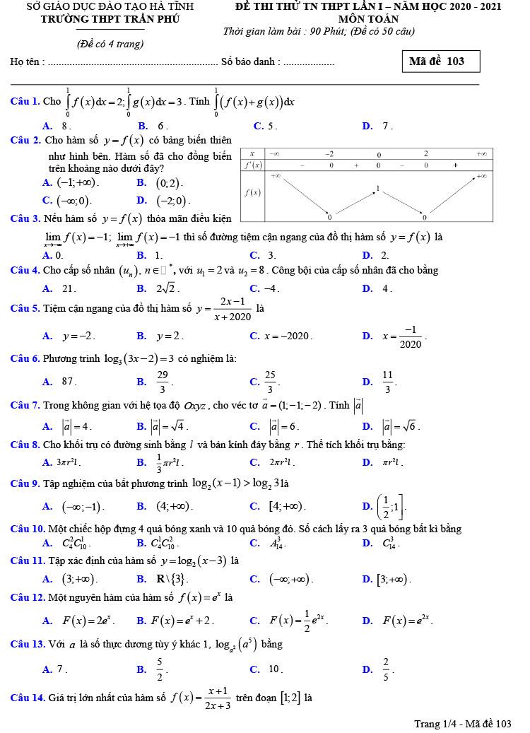 mã đề 103 đề thi thử tốt nghiệp thpt môn toán trần phú lần 1 ảnh 1