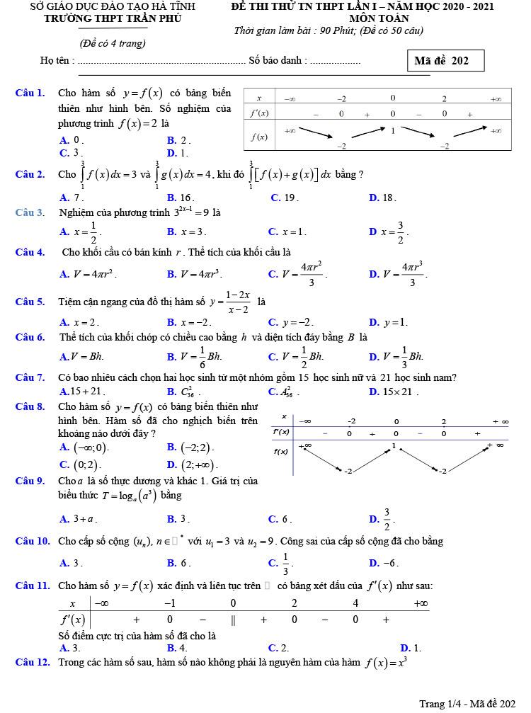 đề thi thử tốt nghiệp thpt môn toán trần phú lần 1 ảnh 1 mã đề 202