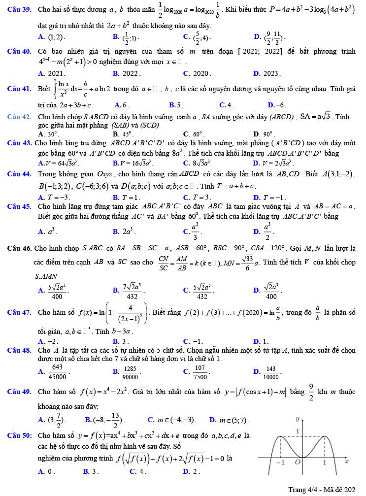 đề thi thử tốt nghiệp thpt môn toán trần phú lần 1 ảnh 4 mã đề 202