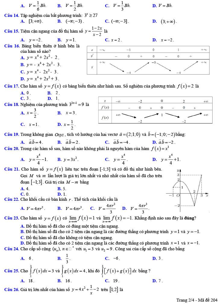 đề thi thử tốt nghiệp thpt môn toán trần phú lần 1 mã đề 204 ảnh 2