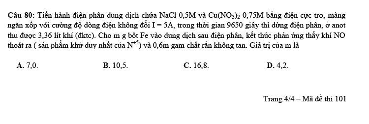 Đề thi thử tốt nghiệp THPT môn Hóa 2021 Trần Phú lần 1 ảnh 4
