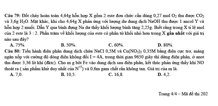 Đề thi thử tốt nghiệp THPT môn Hóa 2021 Trần Phú lần 1 mã đề 2020 ảnh 4