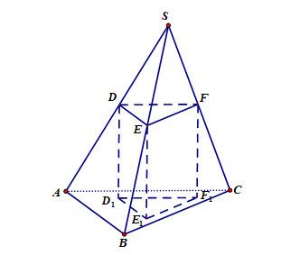 Cho hình chóp S.ABC. Mặt phẳng (P) song song với đáy và cắt các cạnh SA, SB, SC hình ảnh