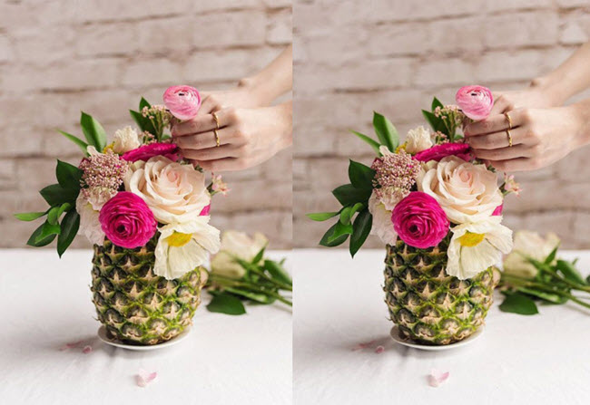 Kết quả hình ảnh cho cắm hoa vào  dứa